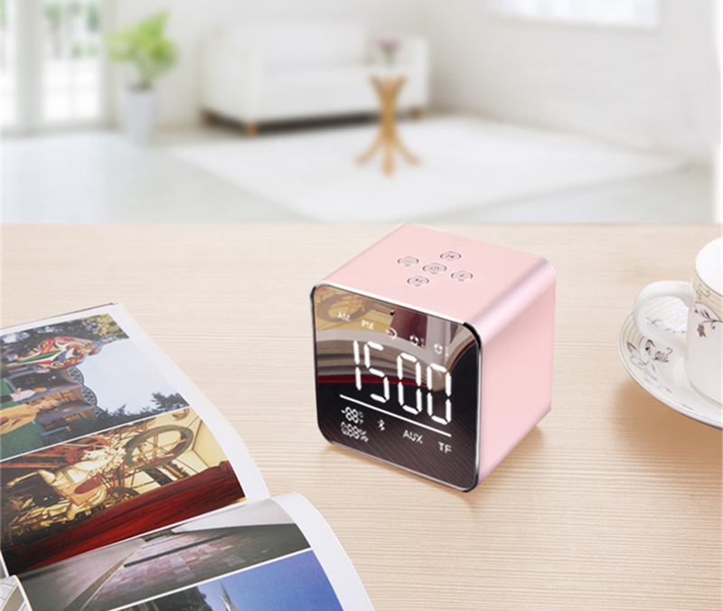 YAYUSI V9 Mini LED Display Dual Alarm Clock TF Card AUX bluetooth Speaker With Mic