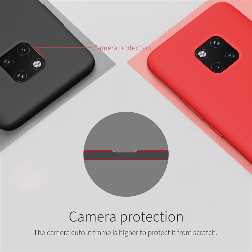NILLKIN Smooth Shockproof Liquid Silicone Rubber Back Cover Protective Case for Huawei Mate 20 Pro