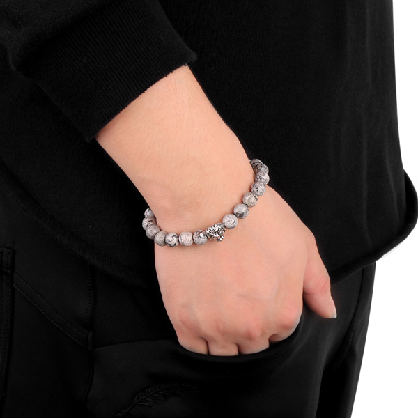 Trendy 8mm Gray Lion Head Beads Bangle Bracelet Elastic Animal Charm Chain for Men