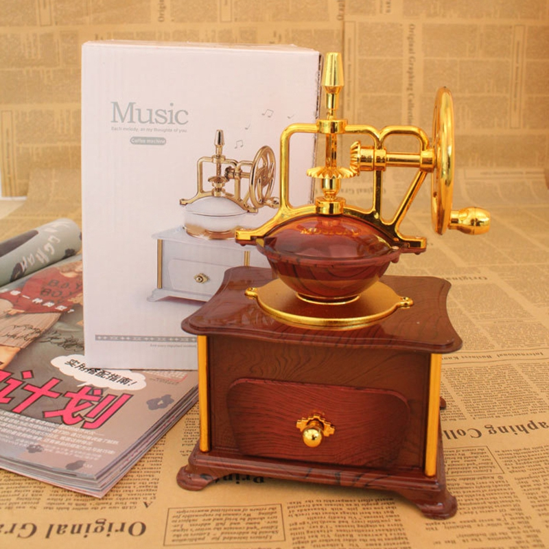 Classic Coffee Machine Design Music Box Musical Case Jewelry Box Drawer Birthday Wedding Gifts
