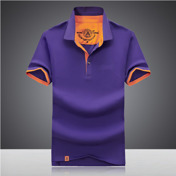 Summer Mens Lapel Short Sleeved Golf Shirt
