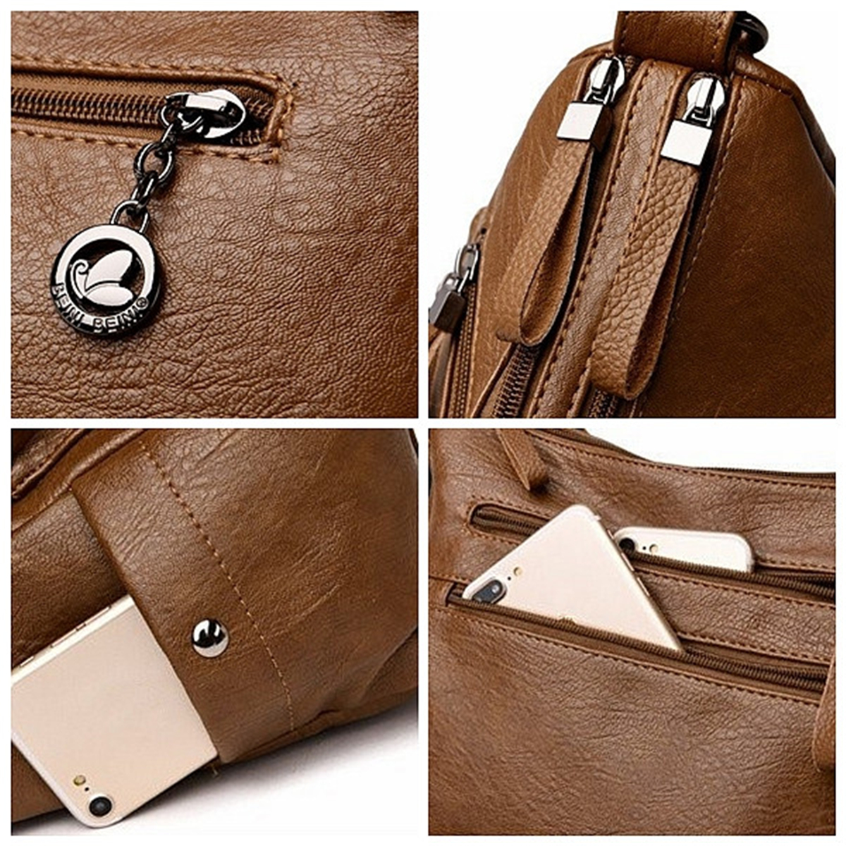 Women Soft Faux Leather Solid Hobos Crossbody Bag