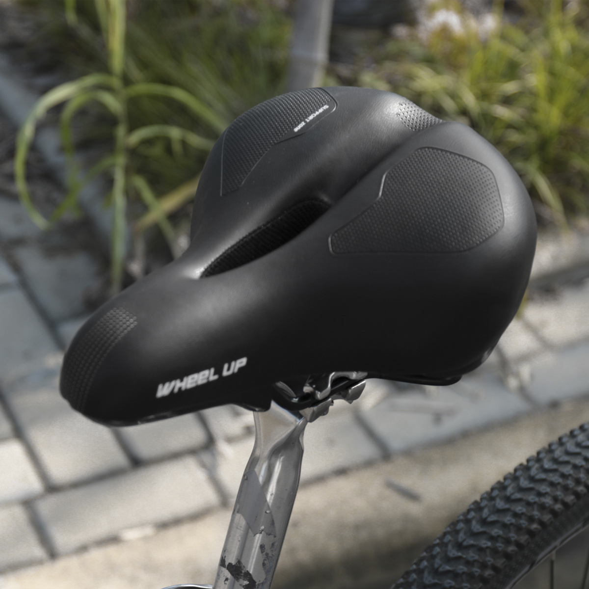 WHEEL UP Breathable Hollow Suspension Bicycle Saddle Comfort Wide MTB Bike Cycling Gel Seat Saddle Seat Pad