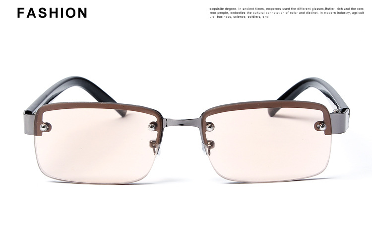 Perforated Half Frame Brown And White Crystal Reading Glasse