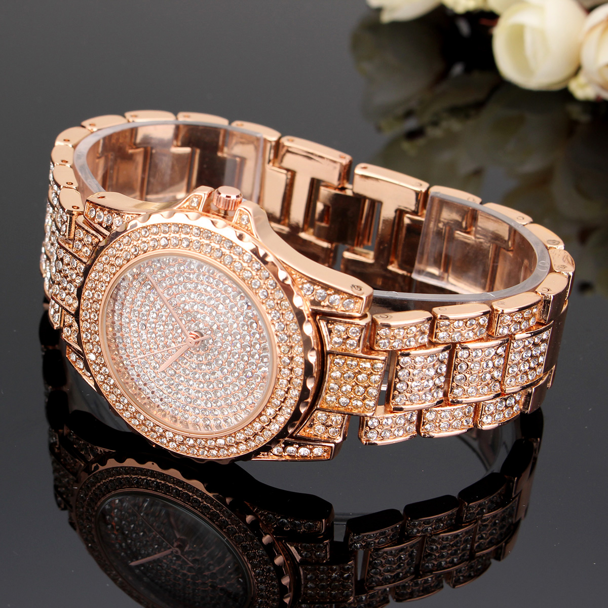 Luxury Women Watches Stainless Steel Band Crystal Fashion Quartz Wrist Watch
