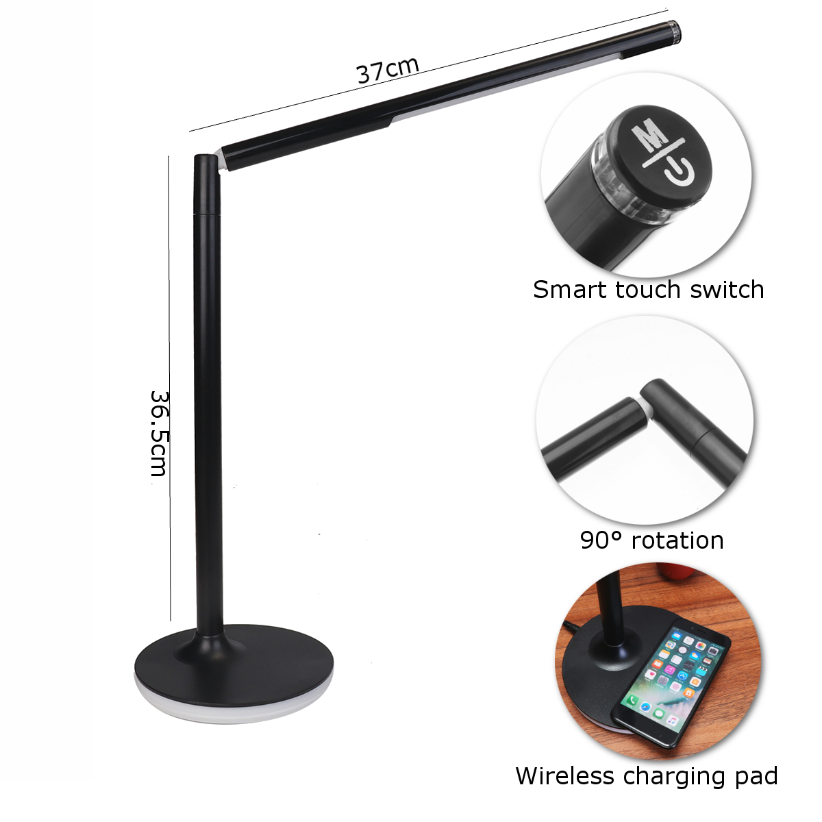 2 in 1 Qi Wireless Charger Pad + 10w LED Table Reading Lamp Desktop Light for Mobile Phone