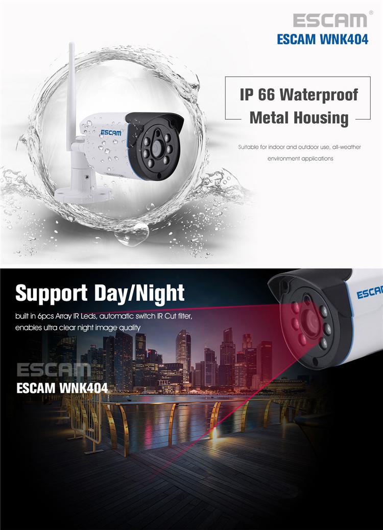 ESCAM WNK404 4CH 720P Outdoor IR Video Wireless Surveillance Security IP Camera CCTV NVR System Kit
