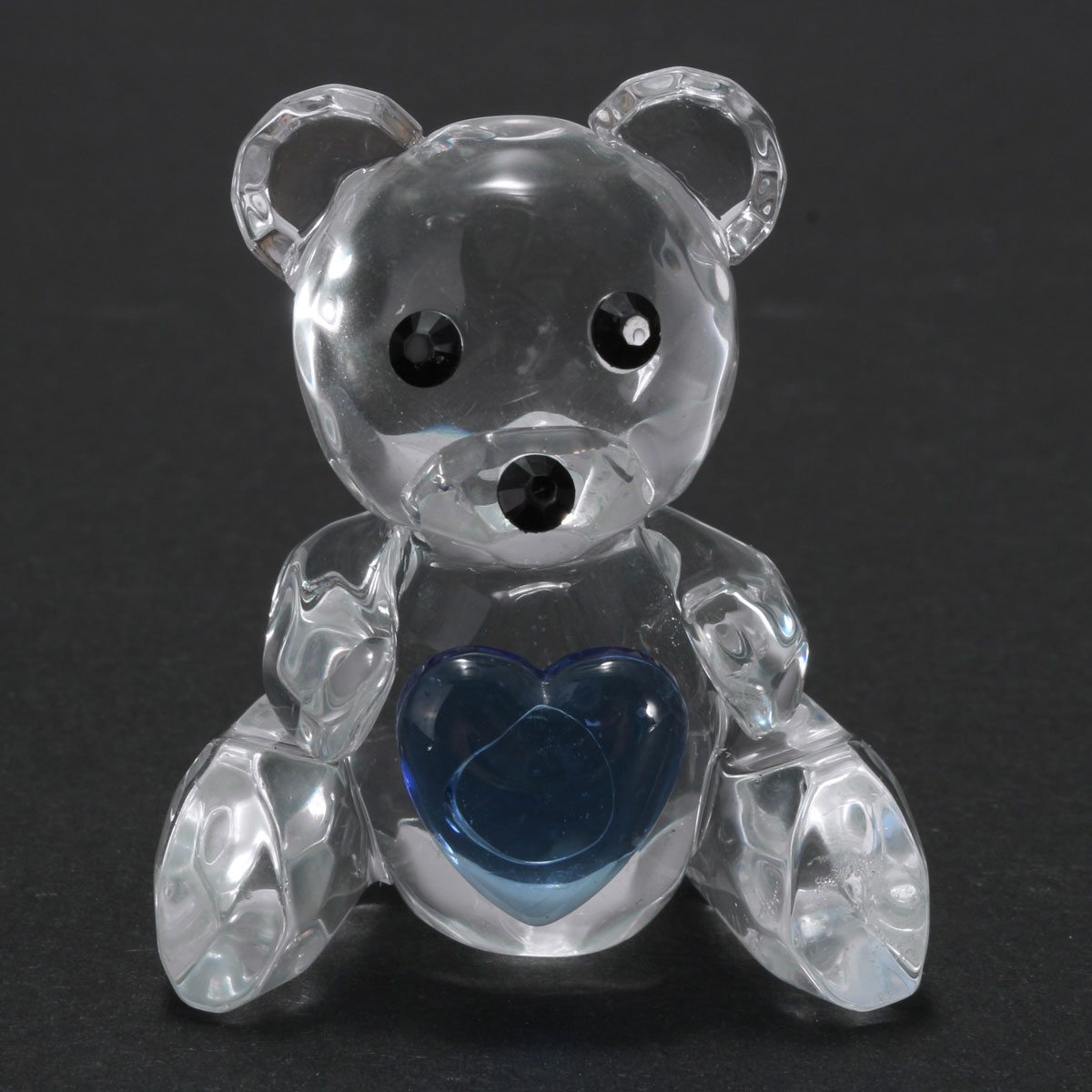 Crystal Bear Blue Heart Christening Baby Shower Favor Home Party Furnishings Decorations Gift