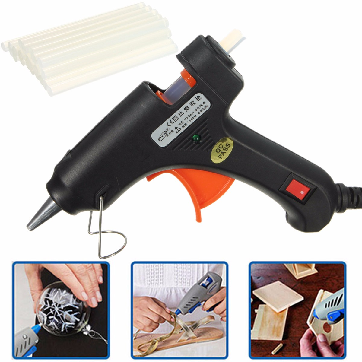 Electric 20W Hot Melt Art Craft Glue Gun with 50Pcs Free Mini Clear Glue Sticks