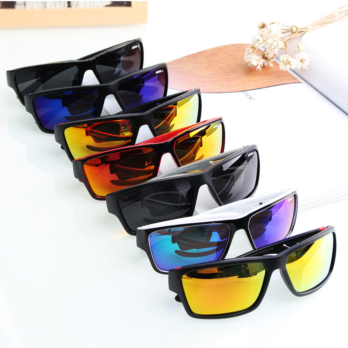 KDEAM KD510 Summer Polarized Sunglasses Men HD Polaroid Lens Exercise Sun Glasses Goggles With Brand Hard Box