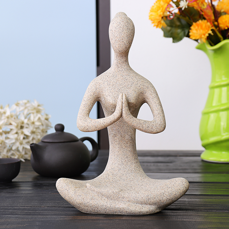 Yoga Lady Ornament Figurine Home Indoor Outdoor Garden Decorations Buddhism Statue Creative Gift