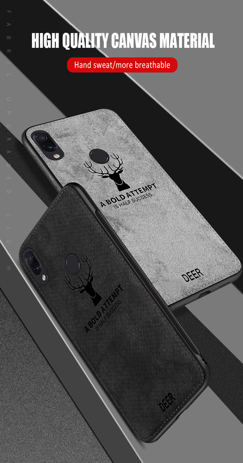 BAKEEY Deer Shockproof Cloth&TPU Protective Case For Xiaomi Redmi Note 7 / Redmi Note 7 Pro