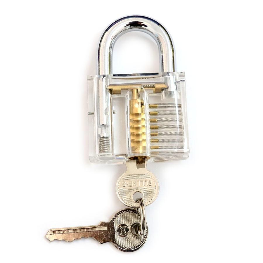 Transparent Practice Padlock with 6pcs Unlocking Lock Pick Set Key Extractor Tool Lock Pick Tools