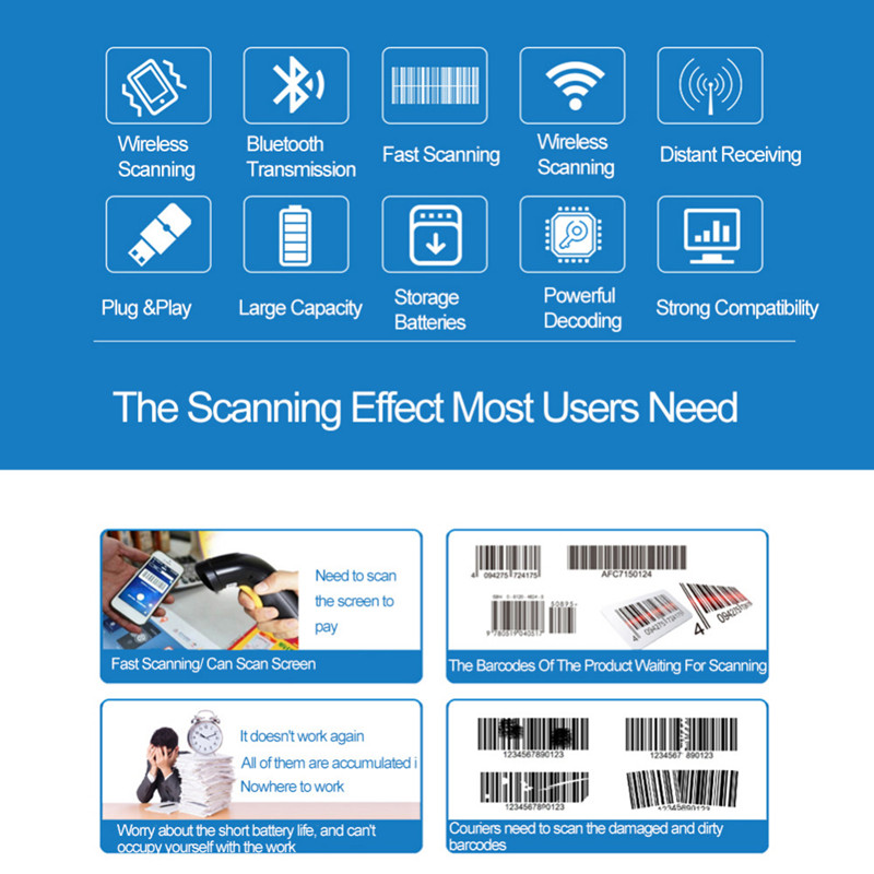 NETUM Z3S Wireless bluetooth CCD Barcode Scanner Bar Code Reader For Android Ios Iphone Shockproof