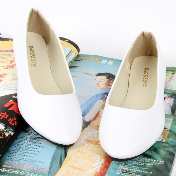 US Size 5-11 Women Flats Casual Comfortable Pointed Toe PU Fashion Slip On Flat Loafers Shoes