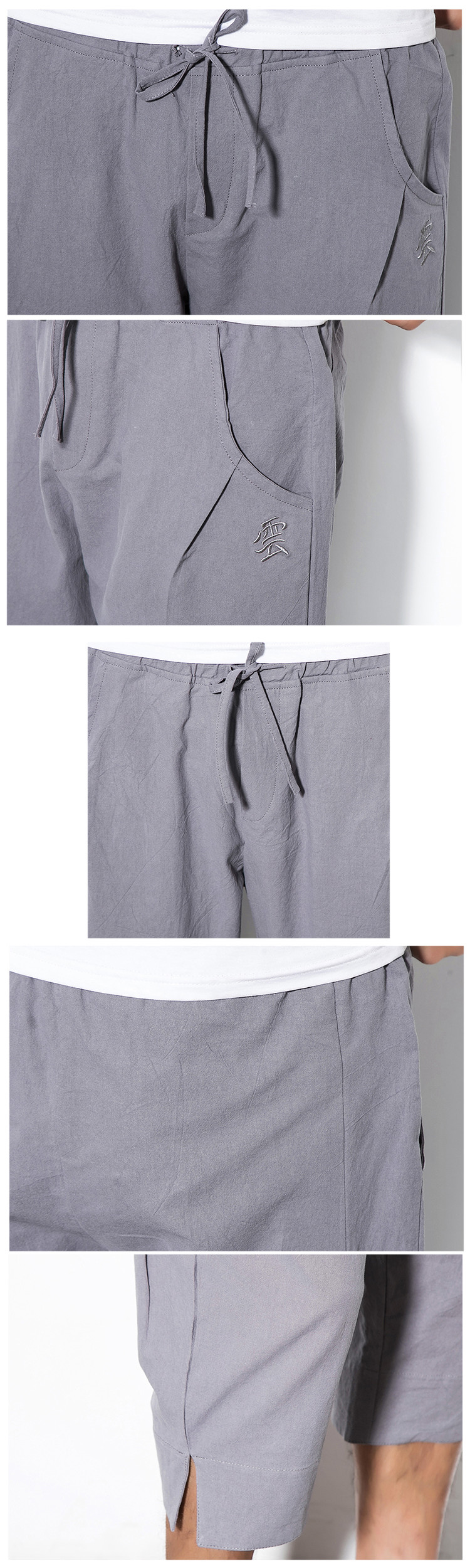 Chinese Style Linen Cropped Trousers