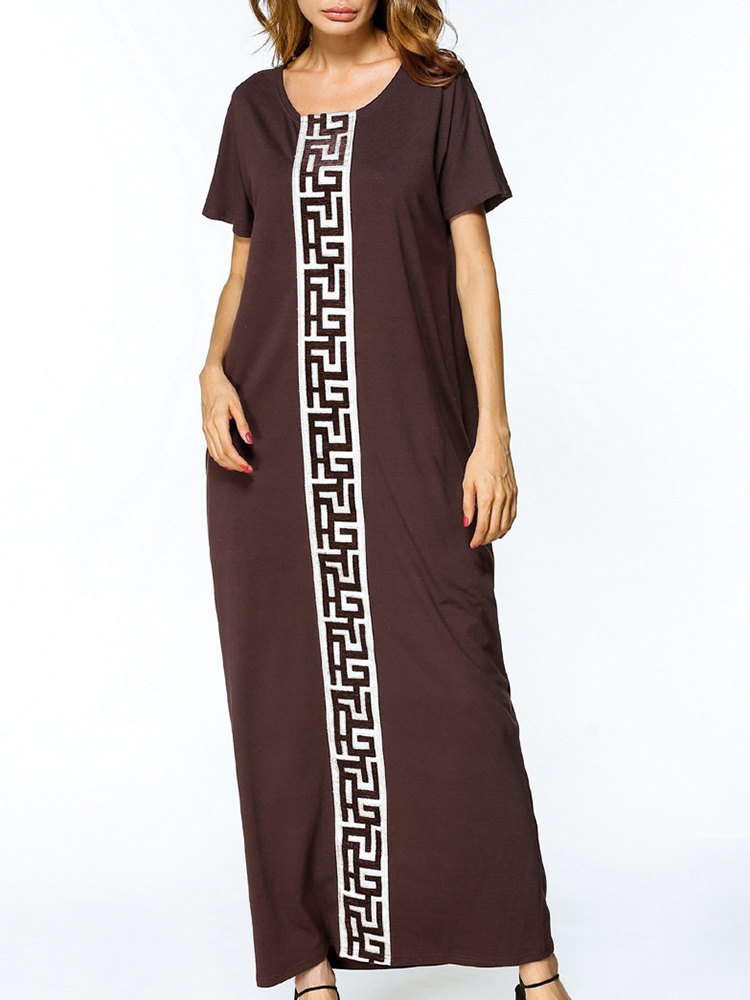 Women Short Sleeve Embroidery Patchwork Loose Maxi Dresses