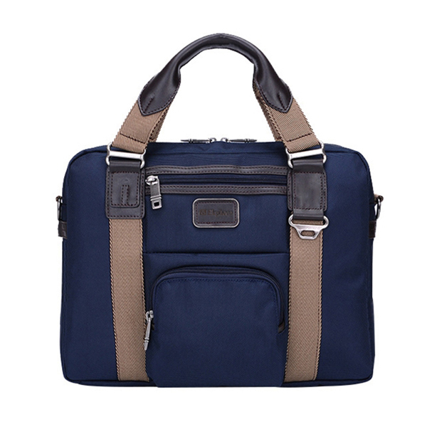 Ekphero Men Vintage Nylon Waterproof Business Casual Laptop Bag Handbag Briefcase Crossbody Bag