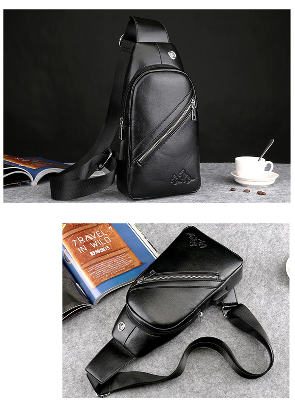 Men PU Leather Sport Casual Chest Bag Vintage Crossbody Bag with USB Charging Port