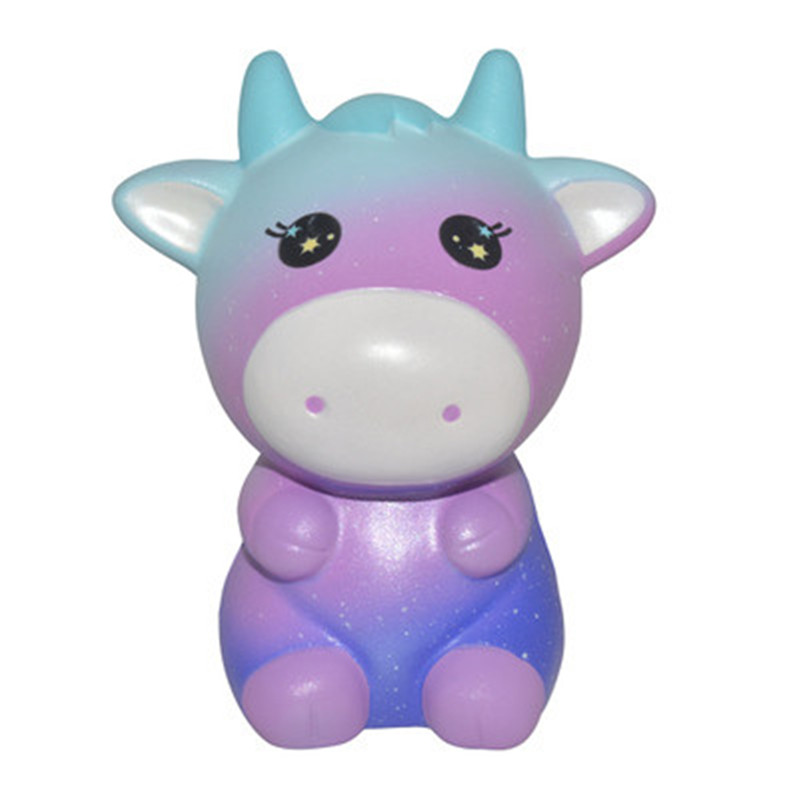 Areedy Cow Squishy Rainbow and Galaxy 12.5*10.5*8cm Licensed Slow Rising With Packaging Collection Gift