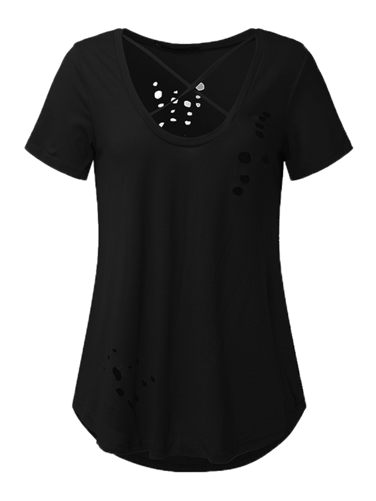 Sexy Women Ripped Holes Deep V-neck Pure Color Short Sleeve T-shirts