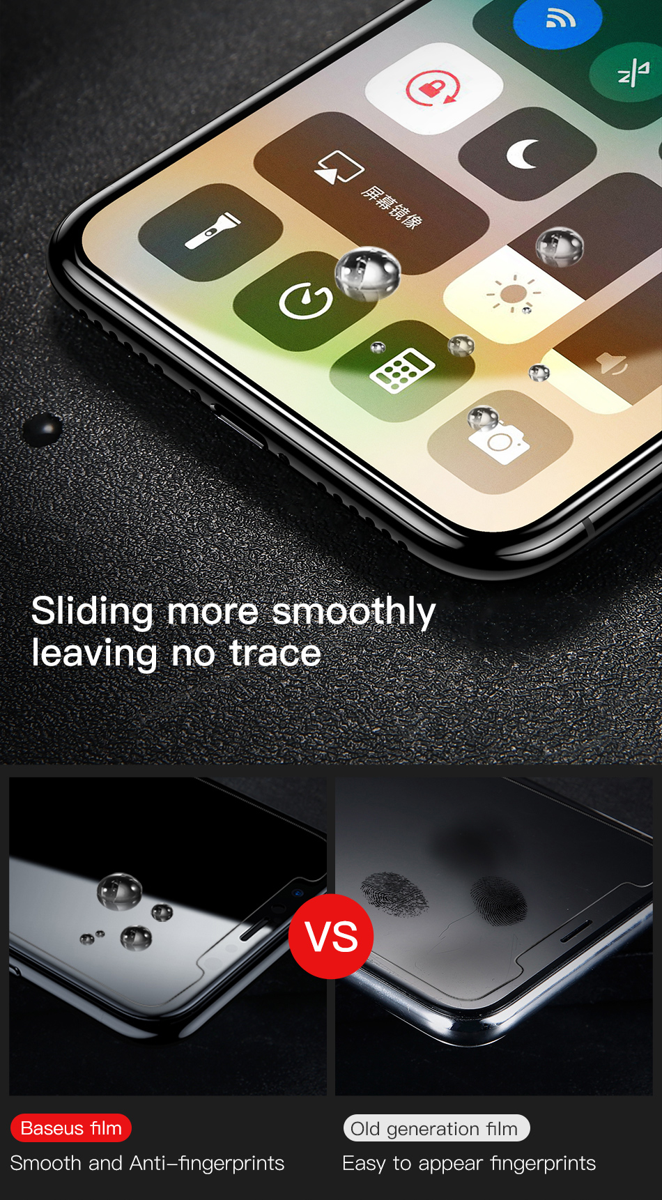 Baseus 0.25mm Anti-fingerprint 9H Full Tempered Glass Screen Protector for iPhone XS/X