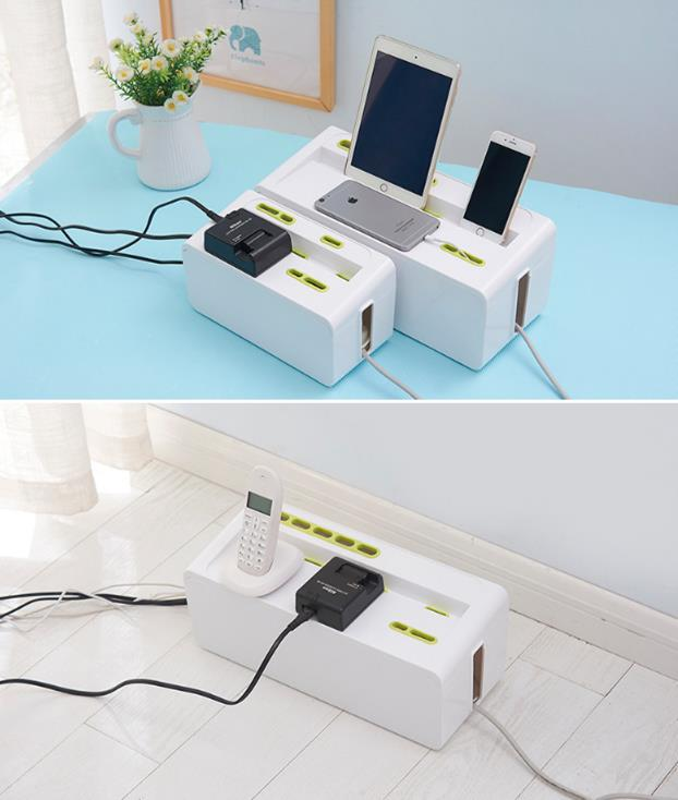 1pcs Power Strip Cord Storage Boxes Safety Socket Outlet Board Container Wire Collection Cables Case