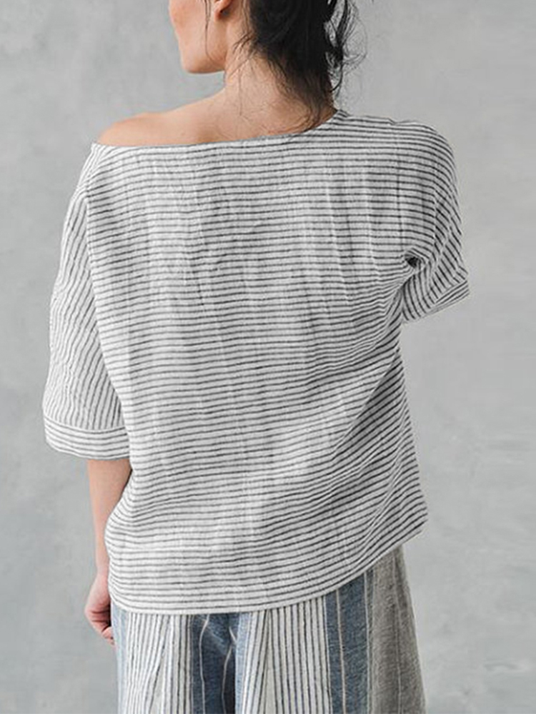 Women Loose Cotton Linen Striped Blouse