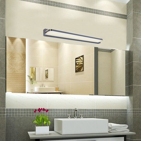 9W Modern Stainless Steel Fillet LED Bathroom Mirror Wall Lamp for Home