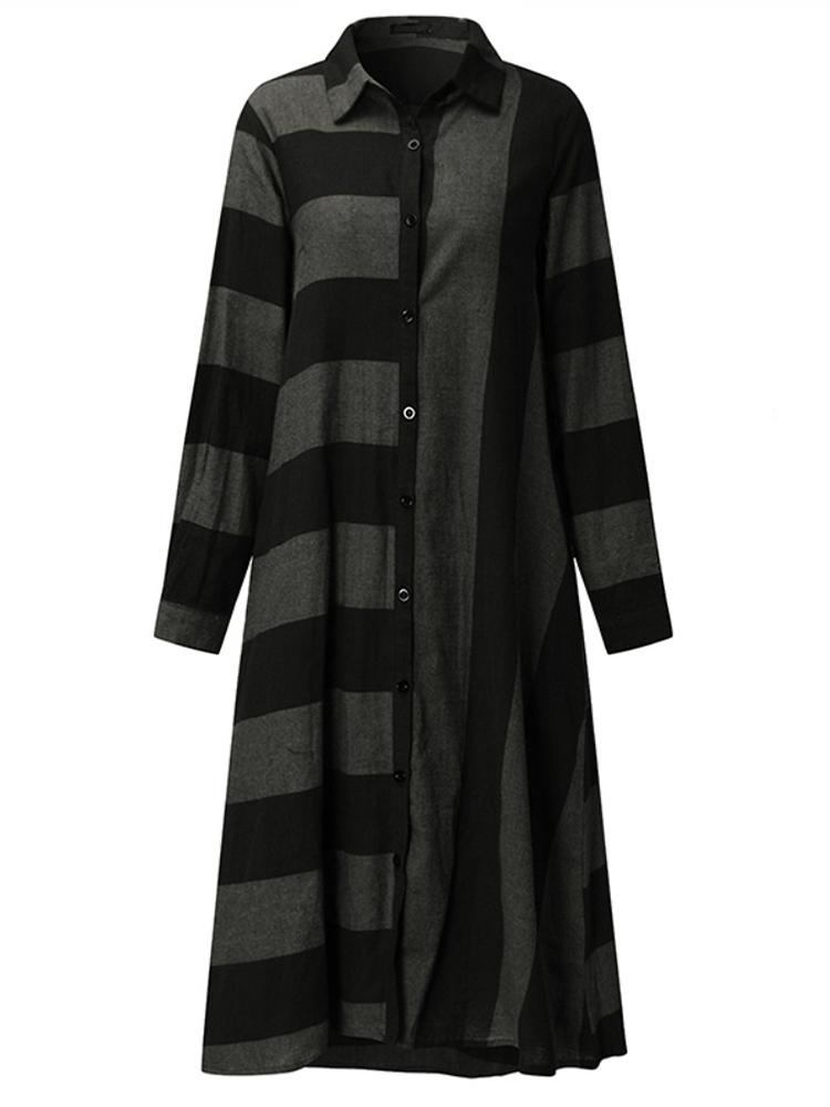 Casual-Women-Long-Sleeve-Striped-Turndown-Collar-Shirt-Dress miniatuur 10