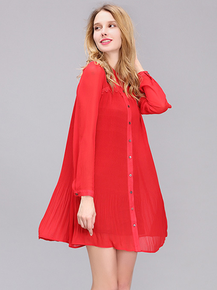 Women Chiffon Gauze Pleated Single-Breasted Long Sleeve Dress