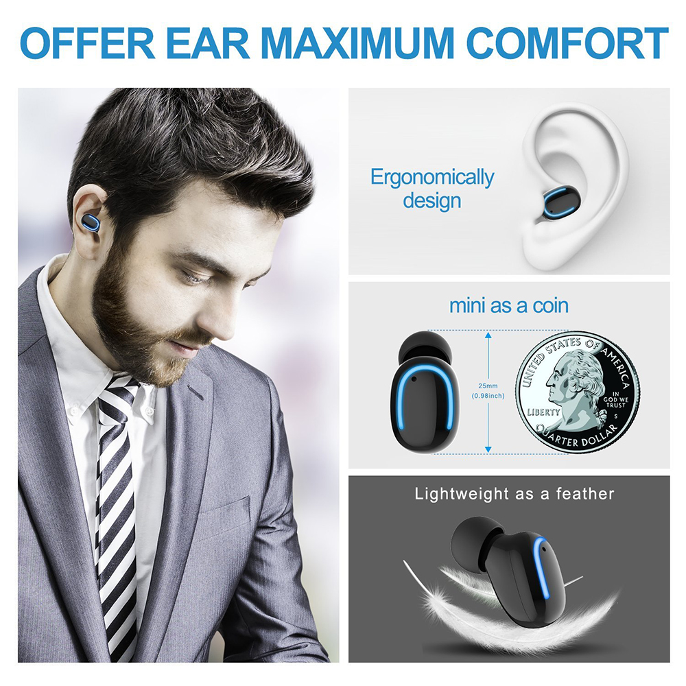 HBQ-Q13S Mini Wireless bluetooth Earphone Single Portable Bass Headset Earphone With USB Charger