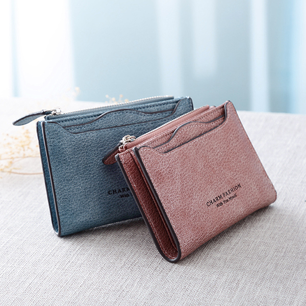 Candy Color PU Leather Small Wallet Card Holder Purse For Women
