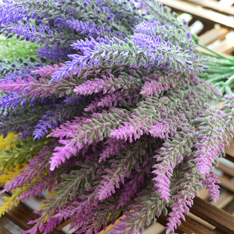 1PCS 25 Heads Romatic Artificial Fake Silk Lavender Flowers Wedding Home Decorative