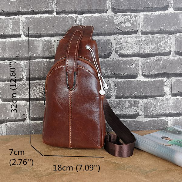 Men Vintage Light Weight Crossboby Bag Fashion Brown Black Chest Bag