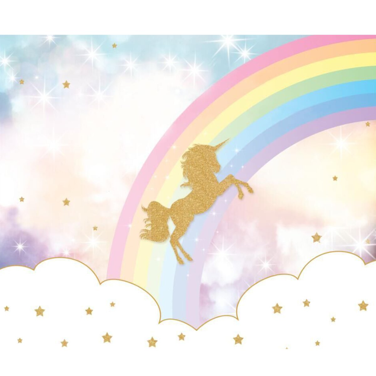 5x3ft 7x5ft Rainbow Sky Gold Unicorn Photography Backdrop Studio Prop Background