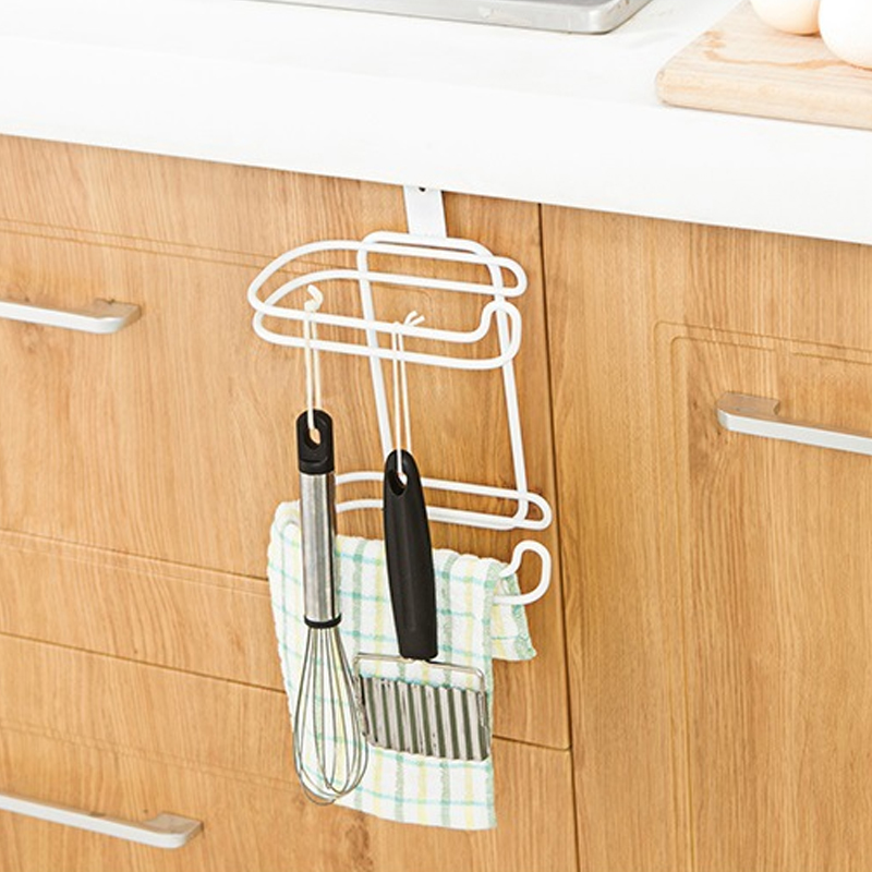 Honana Bathroom Kitchen Hanging Organizer Iron 2 Layers Toilet Roll Paper Hook Shelf Cupboard Door Towel Holder