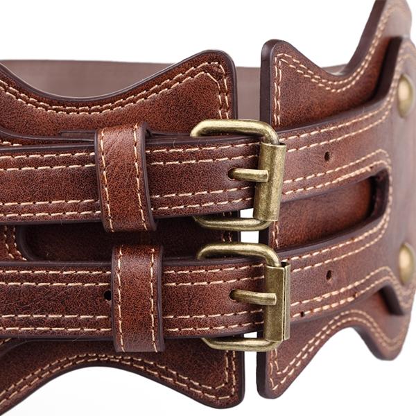 81c4e7c9590f Femmes Lady Crazy Horse PU boucle d aiguille en cuir ceinture large  élastique brun bracelet