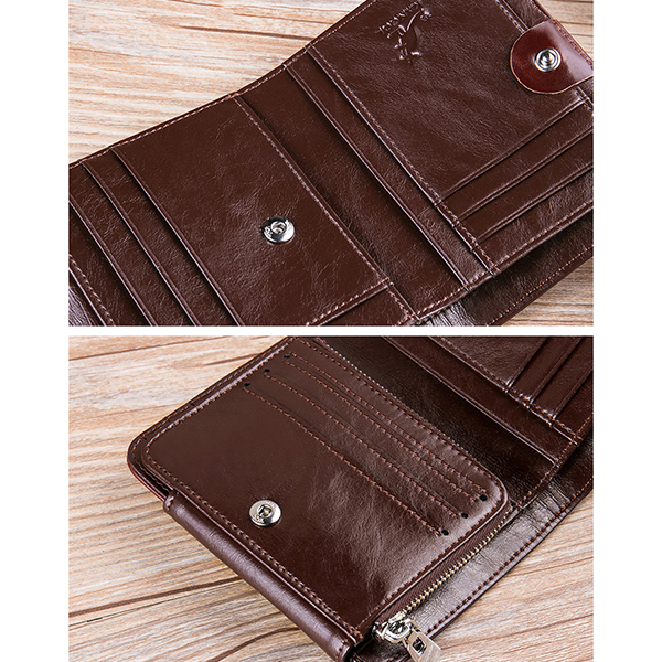 Genuine Leather Business Driver License 12 Card Slots Wallet