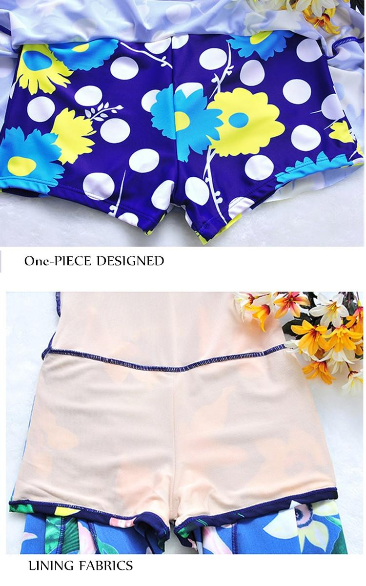 Plus Size 5XL Women Pattern Conservative One Piece Swimming Dress With Short Beach Suit