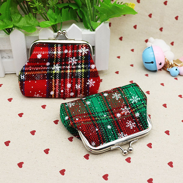 Christmas Gift Plaid Mini Coin Purse Cotton Coin Bag