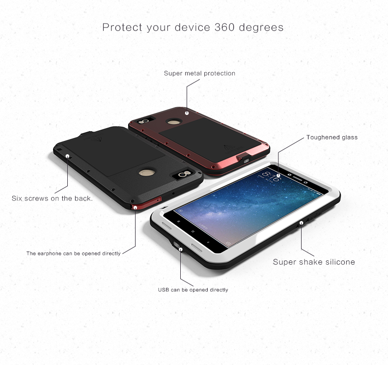 LOVE MEI Waterproof Shockproof 3 Proofings Full Body Aluminum Protective Case For Xiaomi Mi MAX2