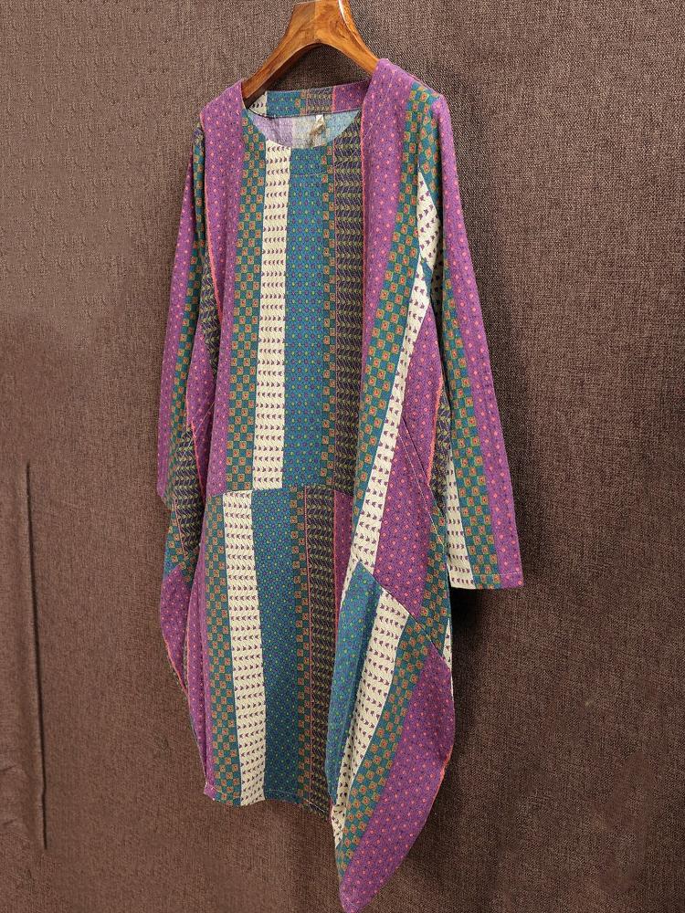 Printed Patchwork O-Neck Dress