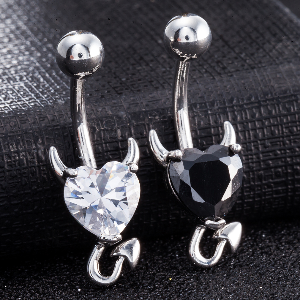 Trendy Dazzling Heart Zirconia Devil Style Belly Button Ring