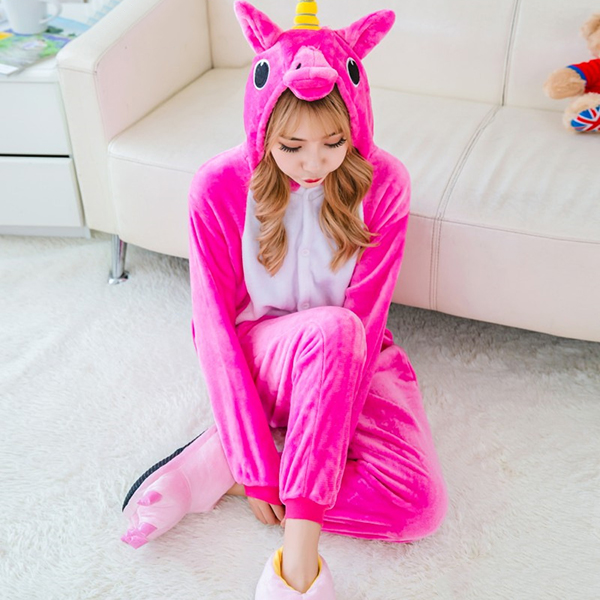 Plus Size Warm Flannel Unicorn Cartoon Unisex Pajamas Performance Costume