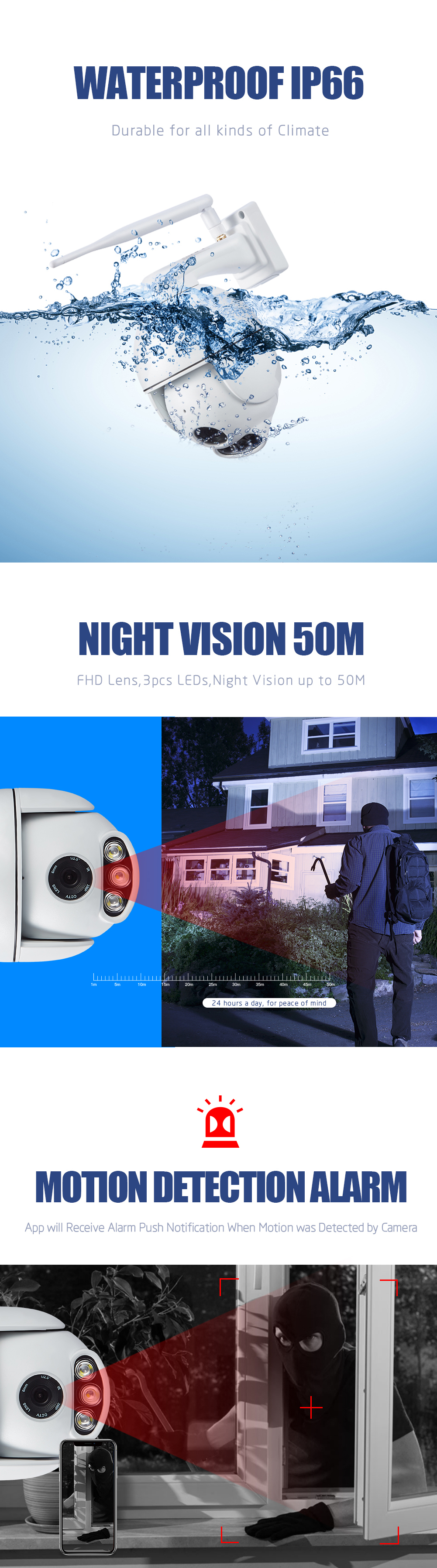 WANSCAM K54 Outdoor PTZ 4X Digital Zoom 1080P IP WiFi Camera Security Dome ONVIF P2P Night Vision Outdoor