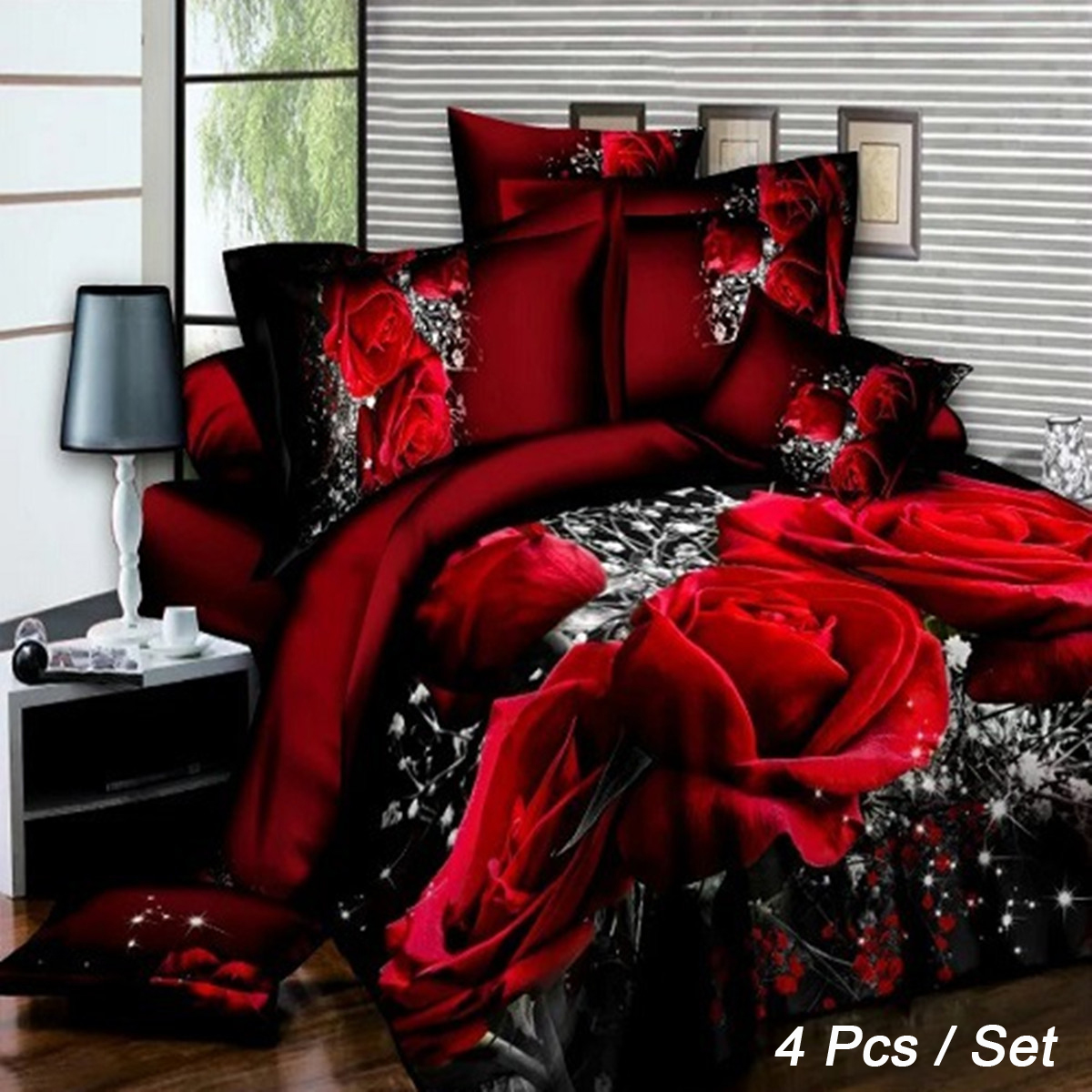 4 Pcs 3D Images Bedding Sets Duvet Set 1 Quilt Cover 1 Fitted Sheet 2 Pillow Cases