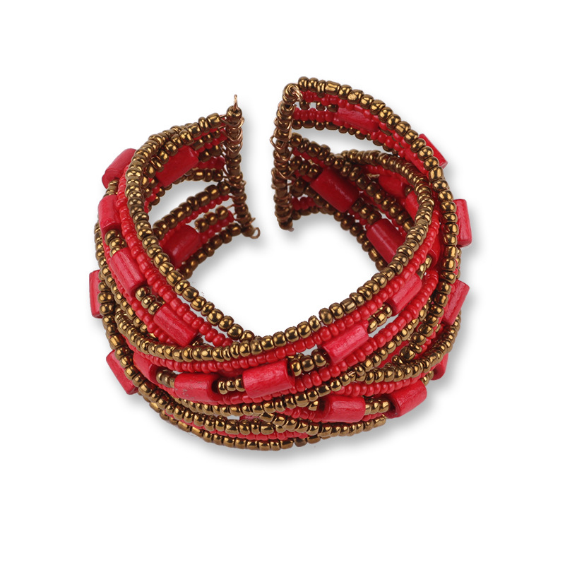 Cheap Bohemian Handmade Beaded Open-end Bracelet for Women