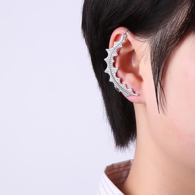 925 Sterling Silver Earrings Leaf Full Zirconia Ear Cuff