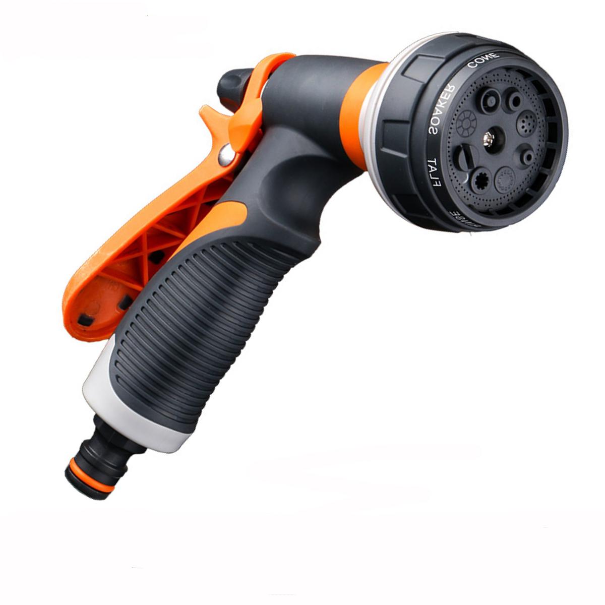 Garden Water Gun Irrigation Hose Nozzle Sprayer 8 Pattern Adjustable Cleaning Car Washing Sprinkler